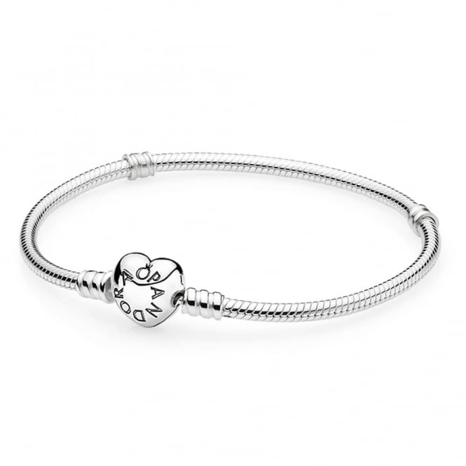 PANDORA Moments Silver Bracelet with Heart Clasp 590719