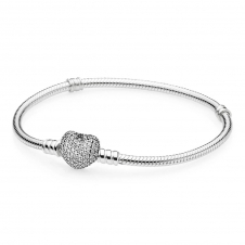 Moments Silver Bracelet with Pave Heart Clasp 590727CZ