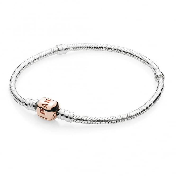 PANDORA Moments Silver Bracelet with Rose Clasp 580702