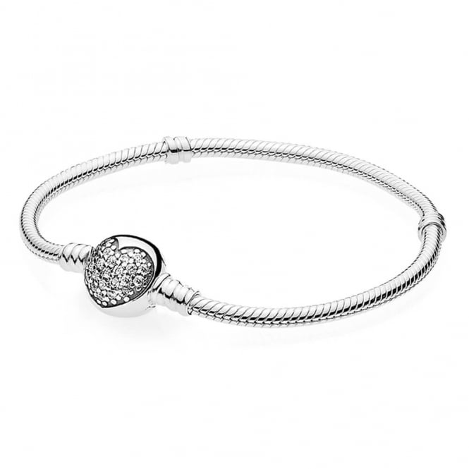 PANDORA Moments Silver Bracelet with Sparkling Heart Clasp 590743CZ