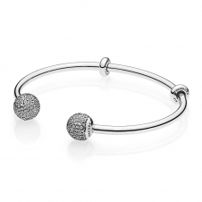 Moments Silver Open Bangle, Pave Caps 596438CZ