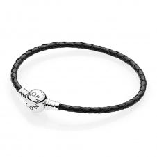 Moments Single Woven Leather Bracelet - Black 590745CBK