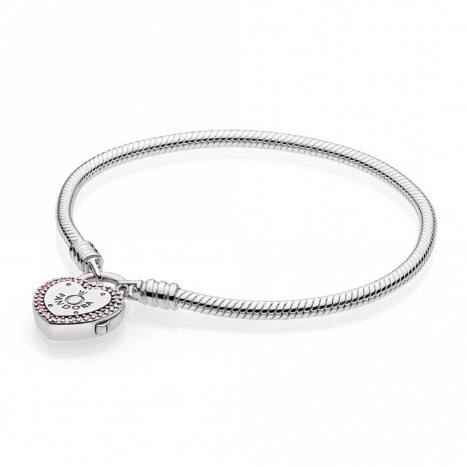 PANDORA Moments Smooth Silver Bracelet, Lock Your Promise Heart Clasp 596586FPC