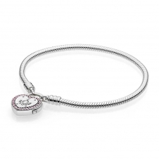 Moments Smooth Silver Bracelet, Lock Your Promise Heart Clasp 596586FPC