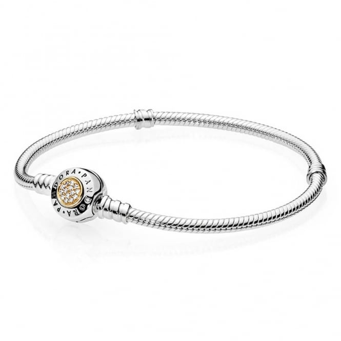 PANDORA Moments Two Tone Bracelet with Signature Clasp 590741CZ