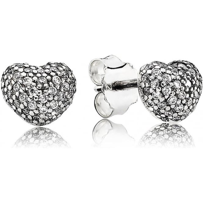 PANDORA Pave Heart Stud Earrings 290541CZ