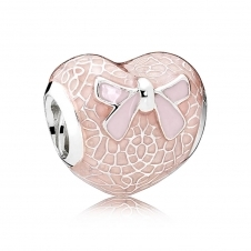 Pink Bow and Lace Heart Charm 792044ENMX