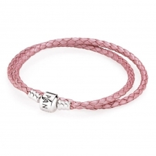 Pink Double Woven Leather Bracelet 590705CMP