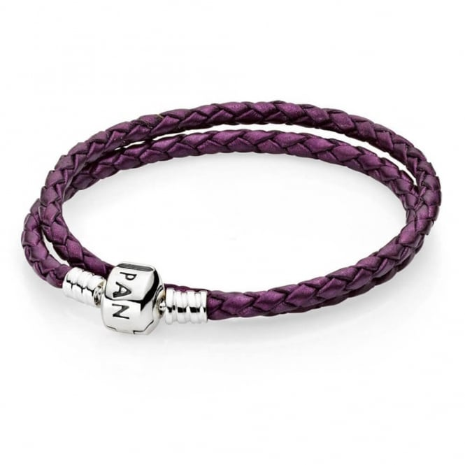 PANDORA Purple Double Woven Leather Bracelet 590705CPE