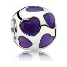 Purple Enamel Hearts Charm 790543EN13