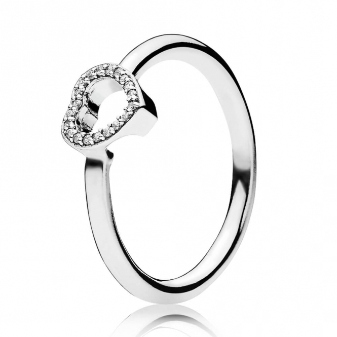 PANDORA Puzzle Heart Frame Ring 196549CZ