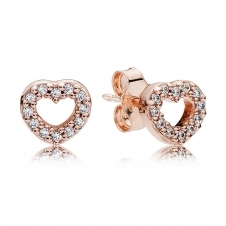Rose Captured Hearts Stud Earrings 280528CZ