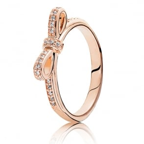 Rose Delicate Bow Ring 180906CZ