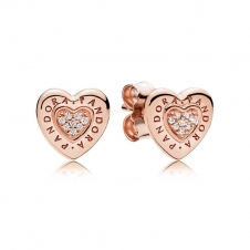 Rose Logo Heart Stud Earrings 287382CZ