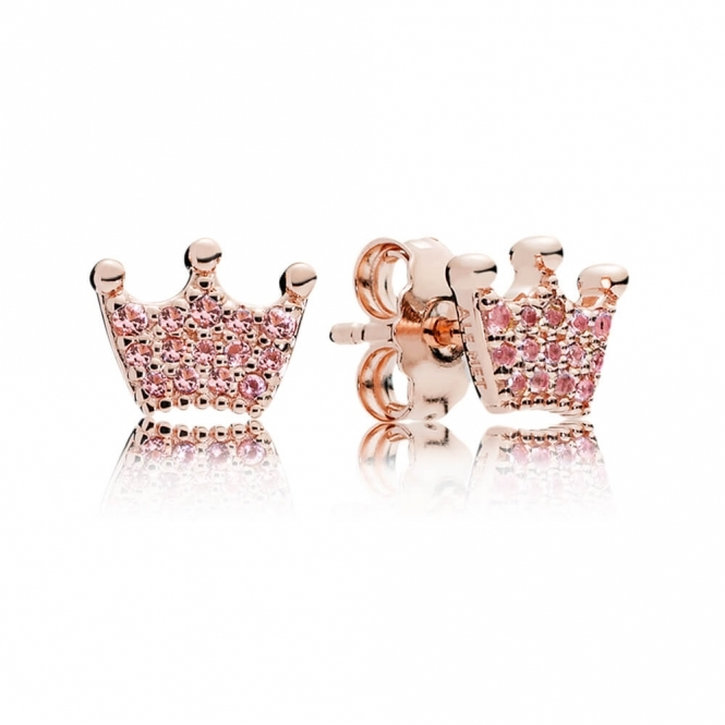 PANDORA Rose Pink Enchanted Crowns Stud Earrings 287127NPO
