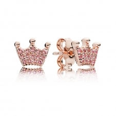 Rose Pink Enchanted Crowns Stud Earrings 287127NPO