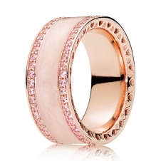 Rose Pink Hearts Band Ring 181024EN95