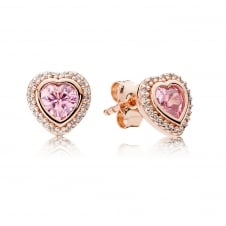 Rose Pink Sparkling Love Stud Earrings 280568PCZ