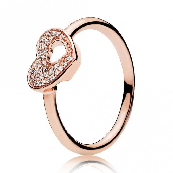 PANDORA Rose Shimmering Puzzle Heart Frame Ring 186550CZ