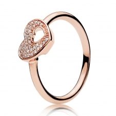 Rose Shimmering Puzzle Heart Frame Ring 186550CZ