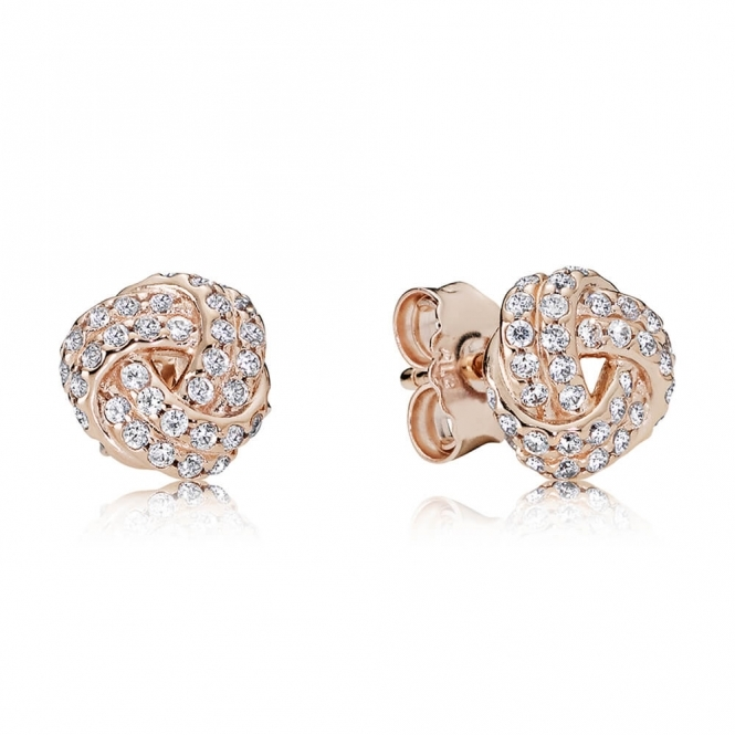 PANDORA Rose Sparkling Love Knot Stud Earrings 280696CZ