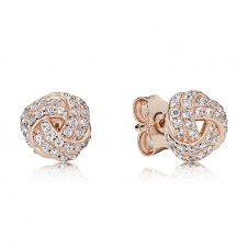 Rose Sparkling Love Knot Stud Earrings 280696CZ