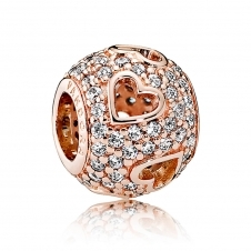 Rose Tumbling Hearts Charm 781426CZ