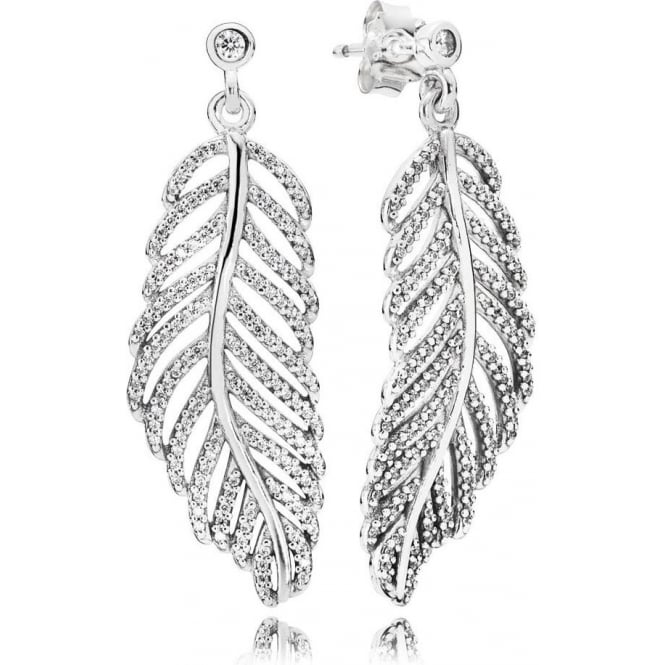 PANDORA Shimmering Feather Earrings 290584CZ