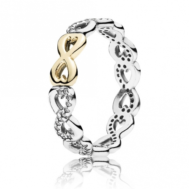 PANDORA Silver and 14ct Gold Infinite Love Ring 190948CZ