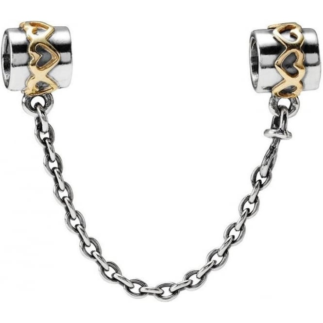 PANDORA Silver Safety Chain with 14ct Gold 790307-05