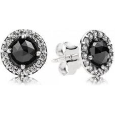 Sparkling Black Spinel Stud Earrings 290548SPB