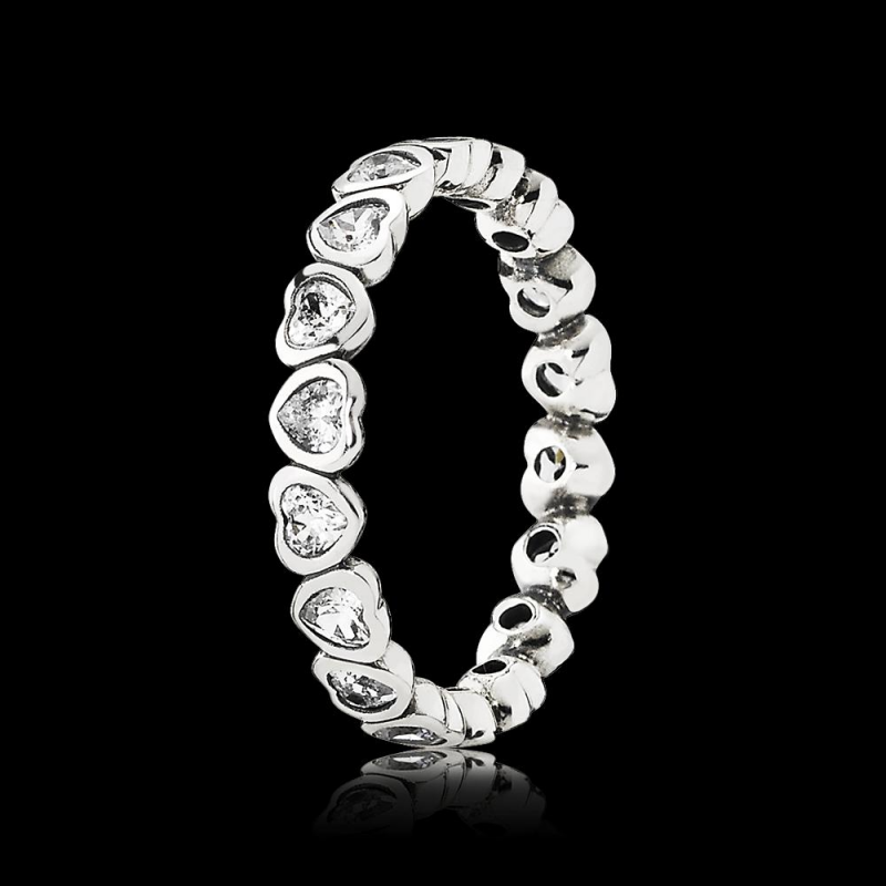 Pandora Sparkling Heart Stacking Ring 190897cz From Gift