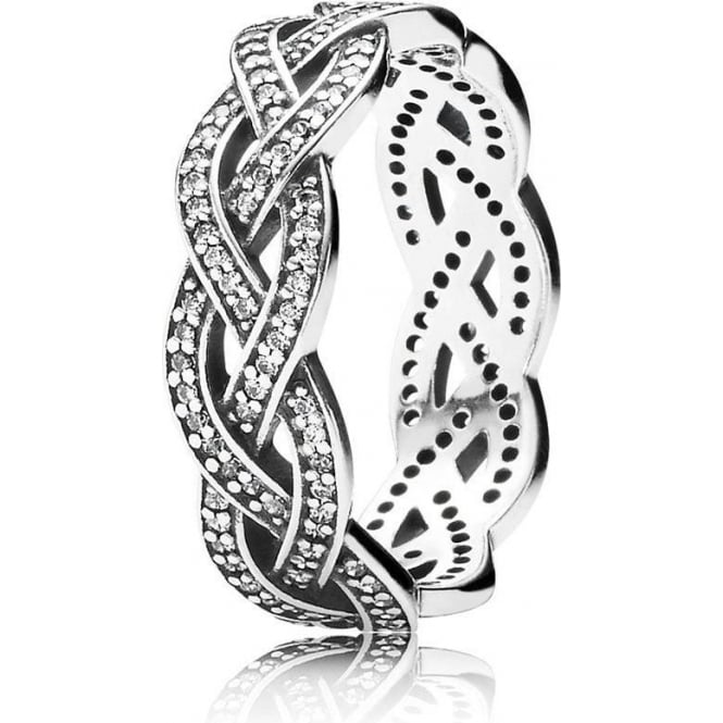 PANDORA Sparkling Silver Braid Ring 190913CZ