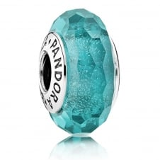 Teal Shimmer Glass Murano Charm 791655