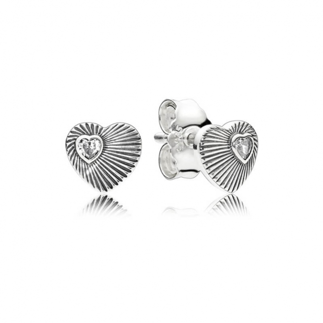 PANDORA Vintage Heart Fans Stud Earrings 297298CZ