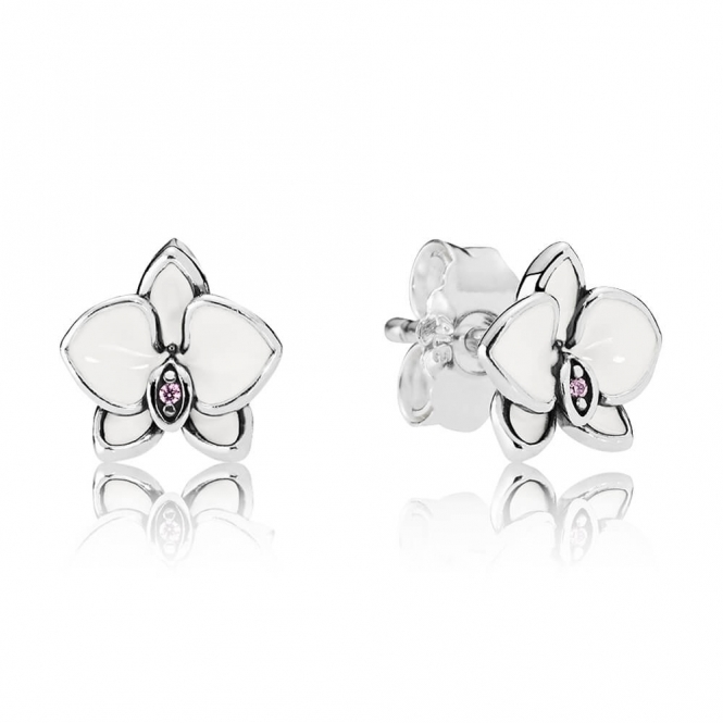 PANDORA White Orchids Stud Earrings 290749EN12